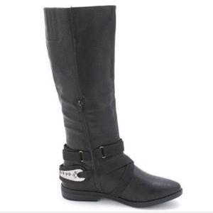 Rampage Isadora black riding boots Silver deco